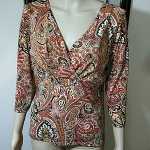 INC, Criss Cross Paisley sequined Top